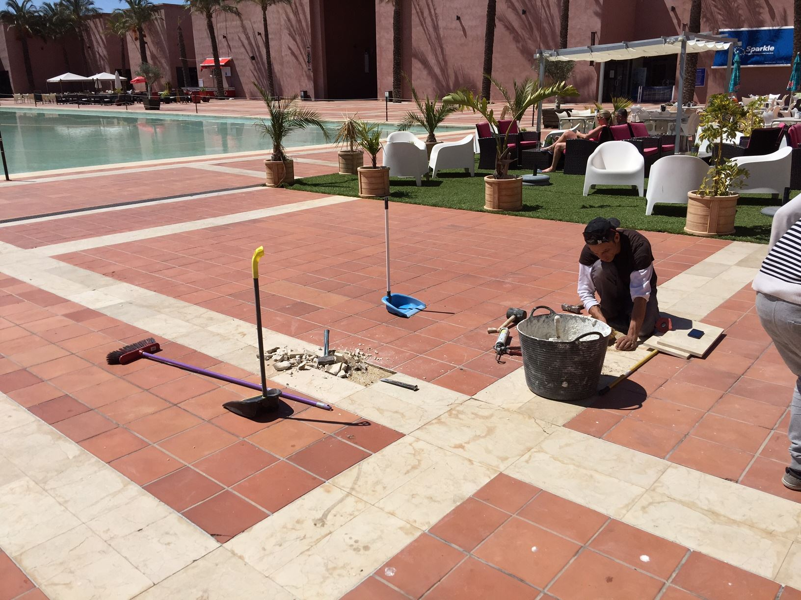 Broken tiles replaced at Al Kasar