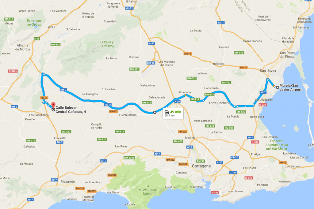 Driving Directions from San Javier Airport