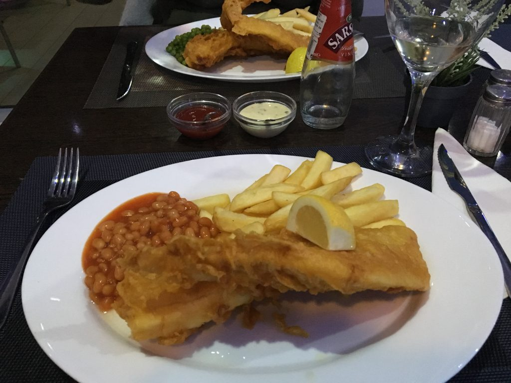 Fish & Chips with beans at The Condado Club