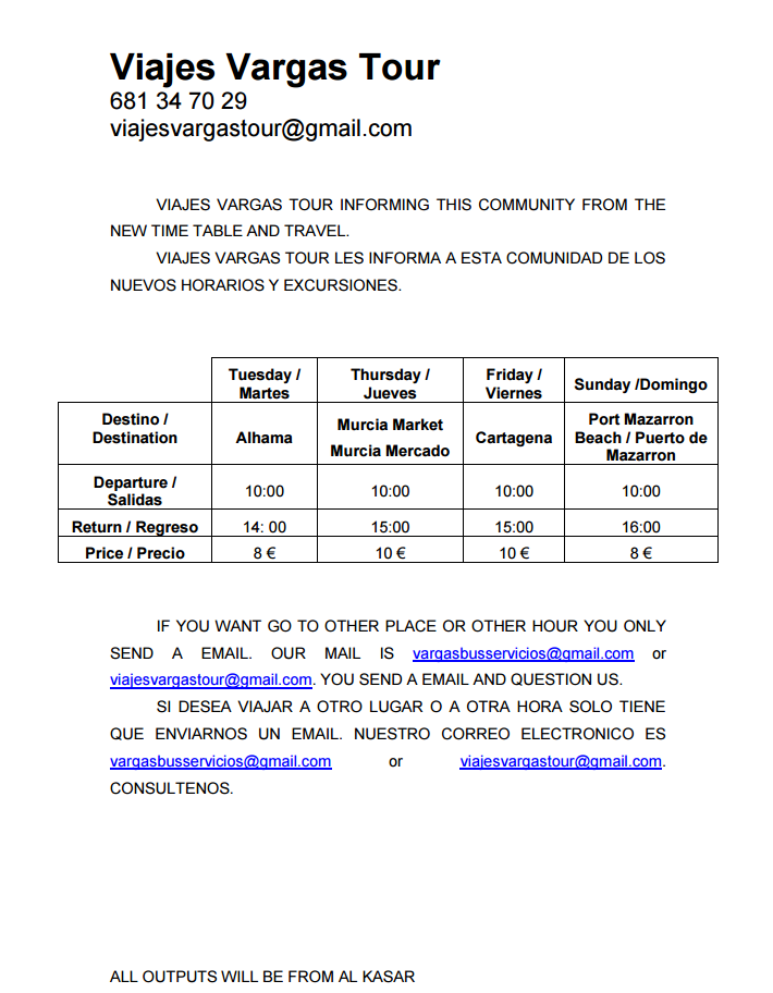 Vargus Tours Bus Timetable - Sprint 2017