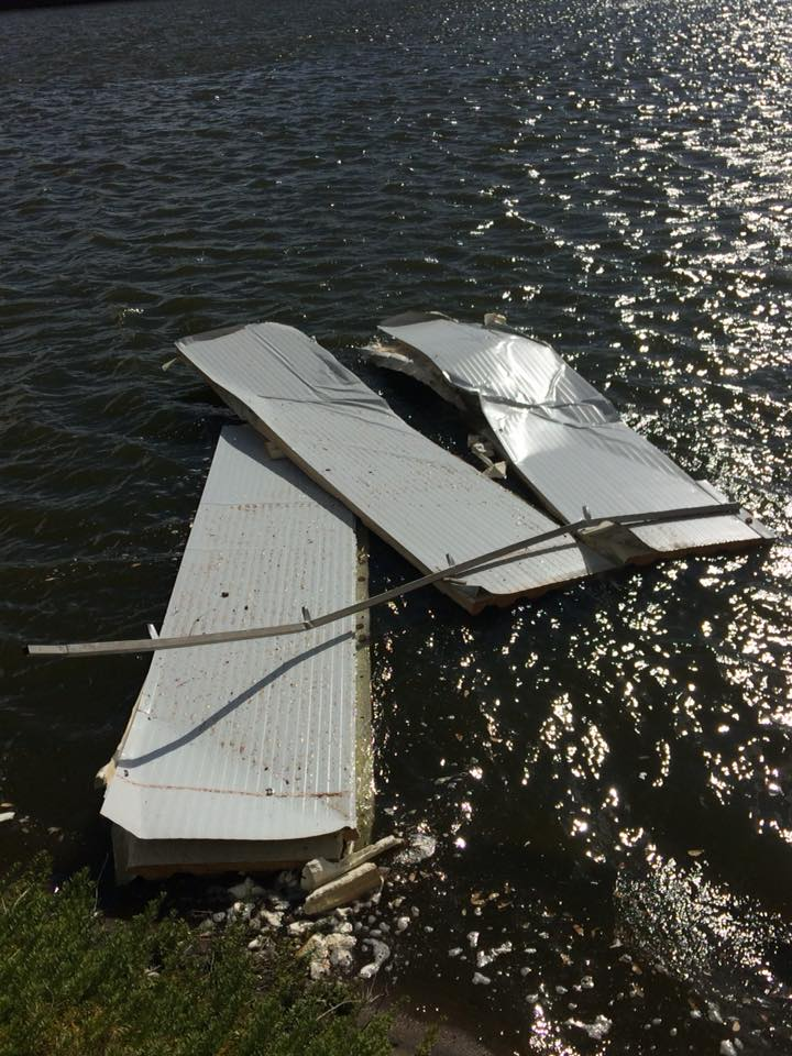 Roof Damage at Recreational Park at La Isla
