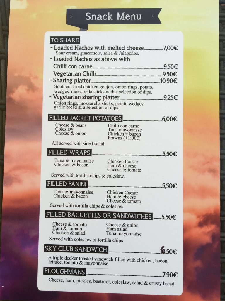 Snack Menu at Sky Bistro & Bar
