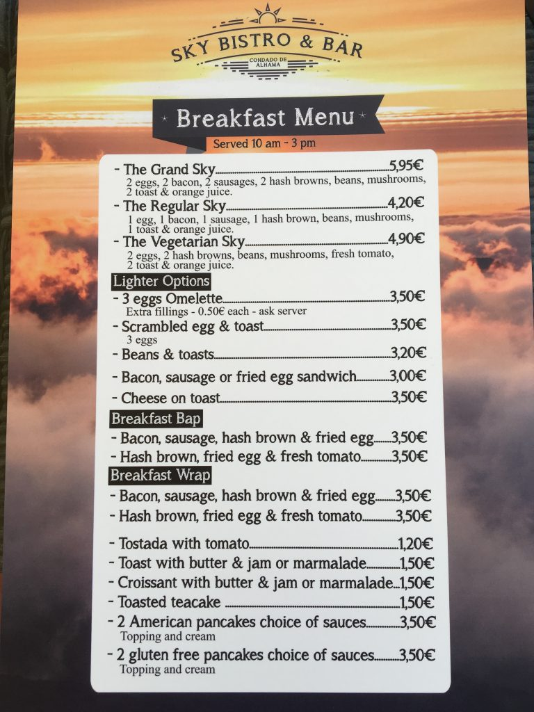 Breakfast Menu at Sky Bistro & Bar