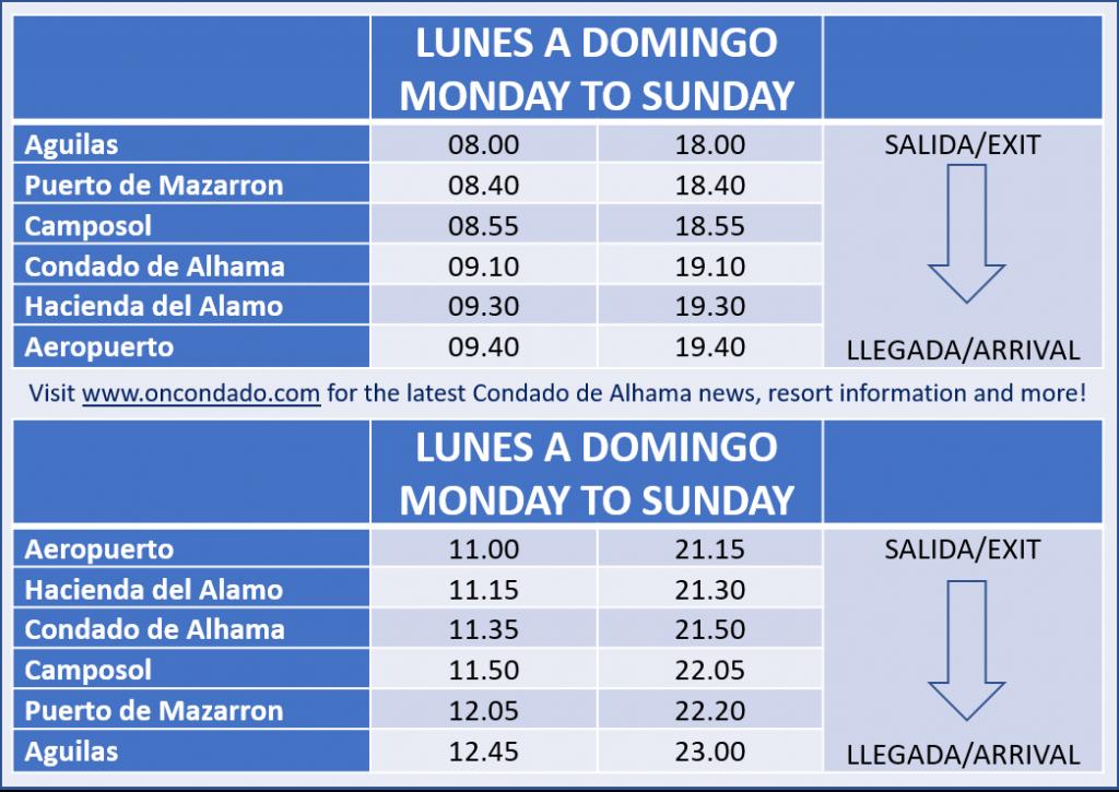 Bus Timetable: Region de Murcia Airport to Condado de Alhama