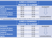 Airport Bus transfer timetable to Condado de Alhama golf resort
