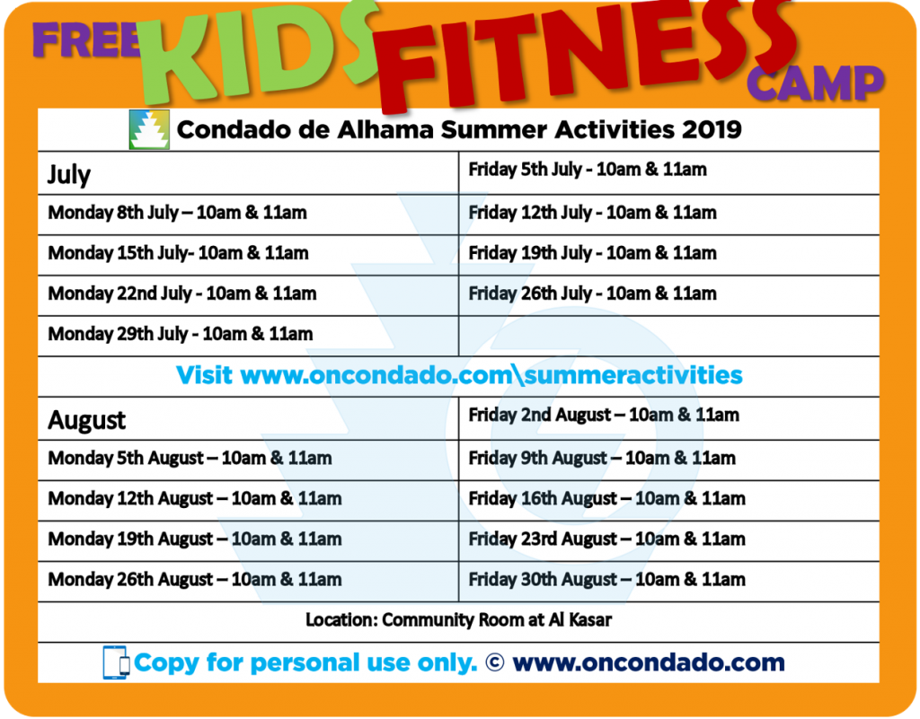 Free Kids Gym in July & August