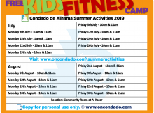 Summer Activities at Condado de Alhama - Kids gym sessions timetable