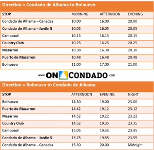 Summer Bus Timetable between Condado de Alhama and Puerto de Mazarron