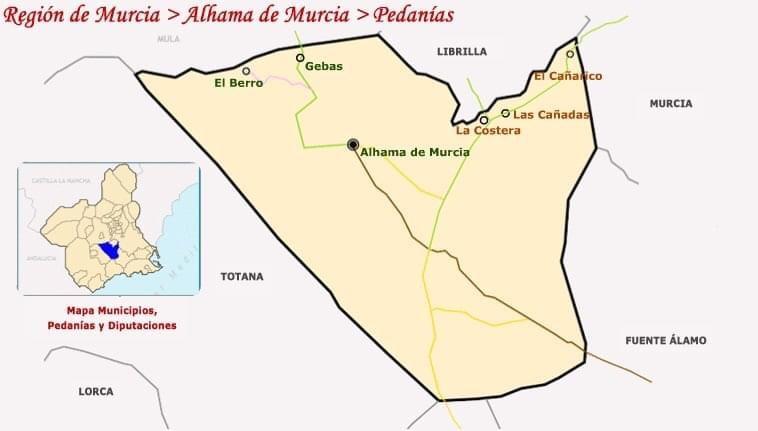 Map of the Alhama de Murcia Region