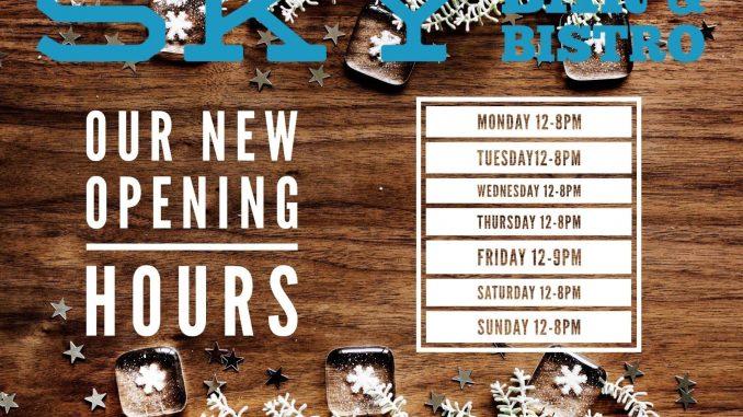 Sky Bar & Bistro opening hours